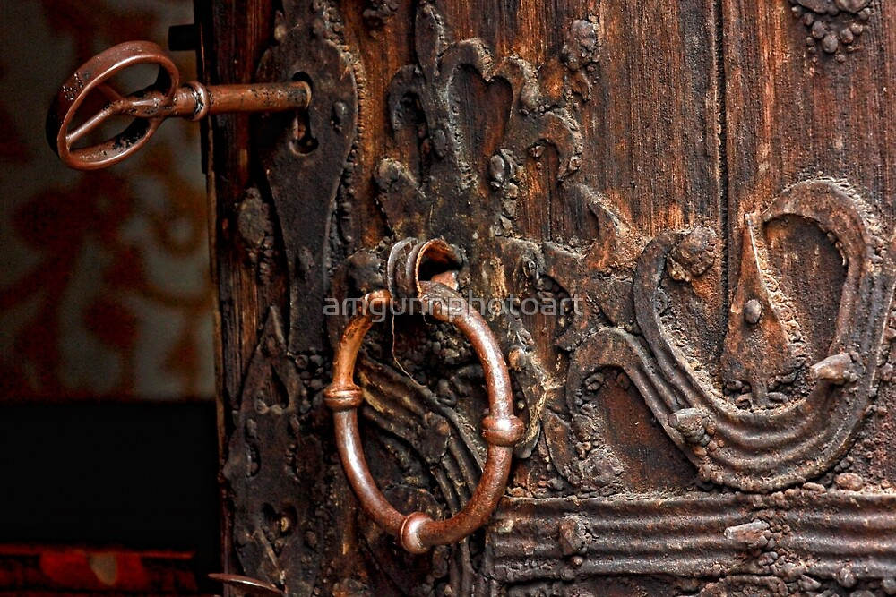 Medieval Church Brass Key and Ring  by amgunnphotoart