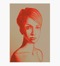 Drawing, portrait of beautiful girl with short hair. Illustration Photographic Print