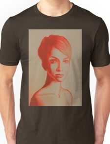 Drawing, portrait of beautiful girl with short hair. Illustration Unisex T-Shirt