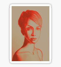 Drawing, portrait of beautiful girl with short hair. Illustration Sticker