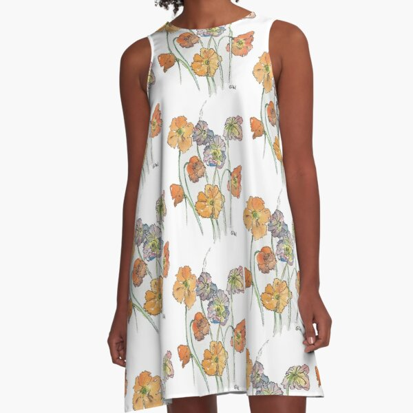 Cute Cut Flowers A-Line Dress