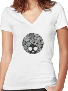 Snow flowers Women's Fitted V-Neck T-Shirt