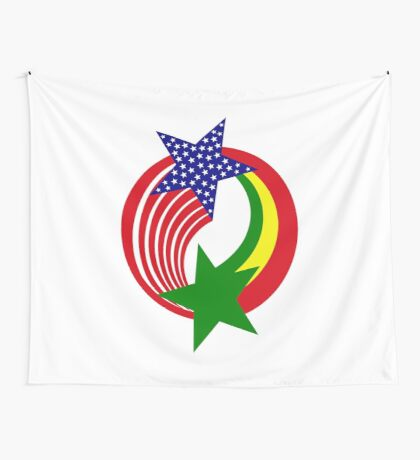 Senegalese American Multinational Patriot Flag Series Wall Tapestry