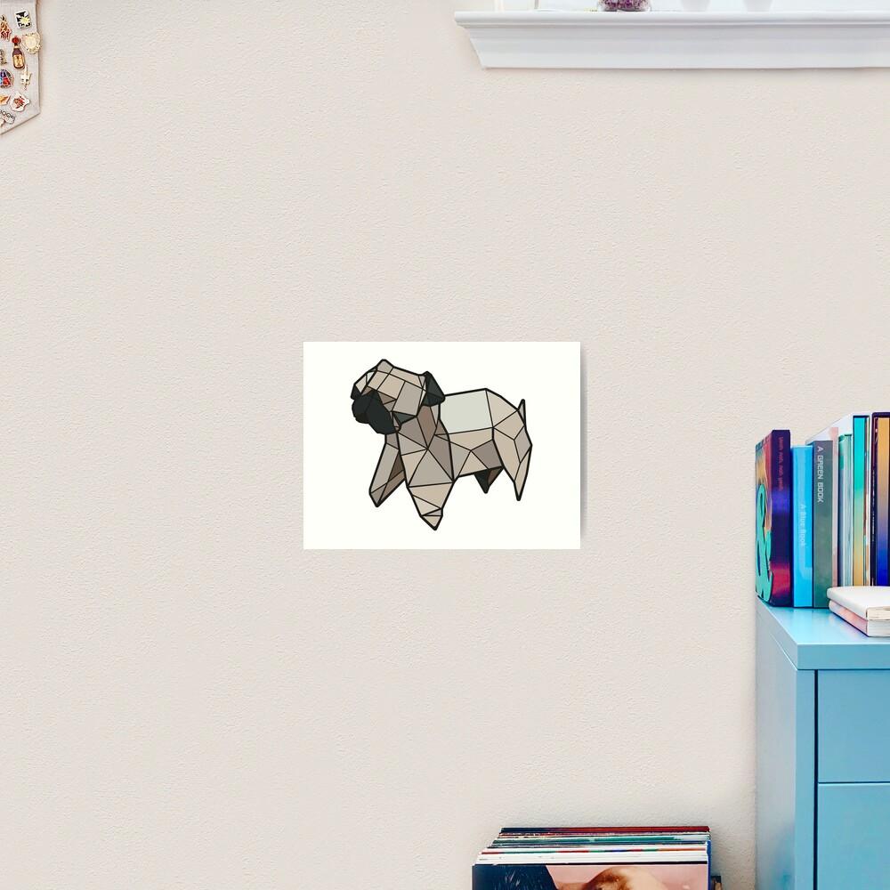 Origami Pug Art Print