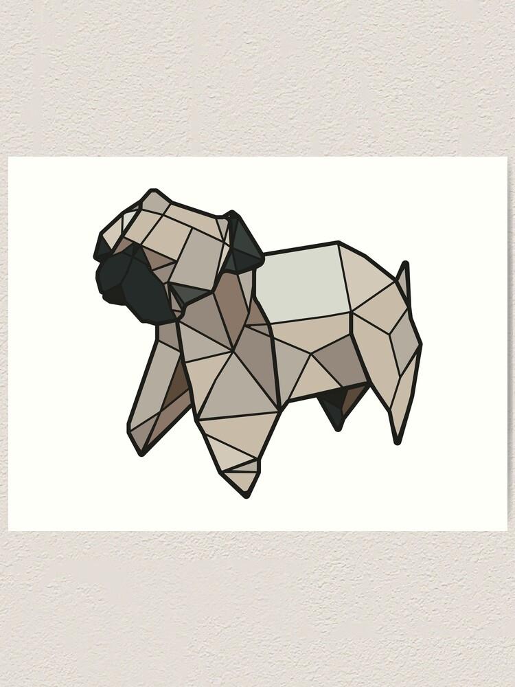 Alternate view of Origami Pug Art Print