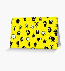 Funny and crazy cartoon monsters seamless pattern Greeting Card