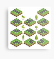 Isometric City Road Elements Set with Trees Metal Print