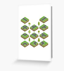 Isometric City Road Elements Set with Trees Greeting Card