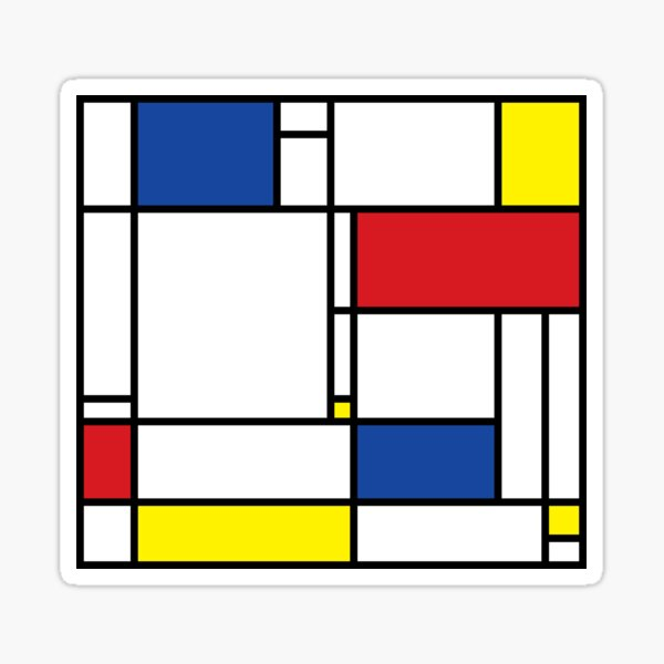 Mondrian Minimalist De Stijl Modern Art © fatfatin Sticker