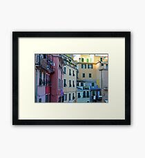 Colorful buildings facade from Vernazza, Italy Framed Print