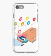 Smart Watch Technology Concept with Hands and Icons iPhone Case/Skin