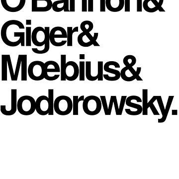 Jodorowsky's Dune - O'Bannon, Giger, Moebius and Jodorowski by jimmynails