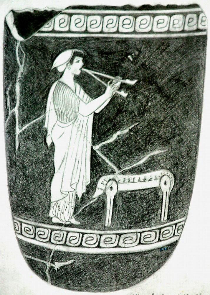 Girl Playing Duble flute.This come from the 5cth century B.C. by EmilyWinter