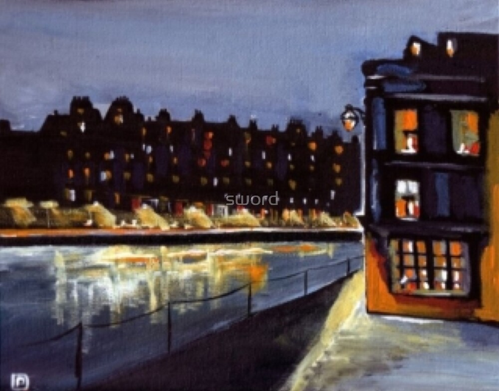 Riverside at night from my original acrylic painting) by sword