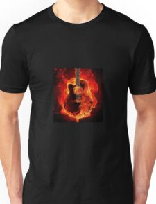 Burning Guitar on Fire Heat Red Black Unisex T-Shirt