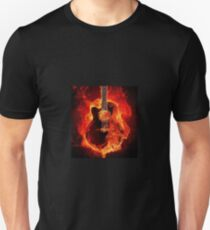 Burning Guitar on Fire Heat Red Black Unisex T-Shirt