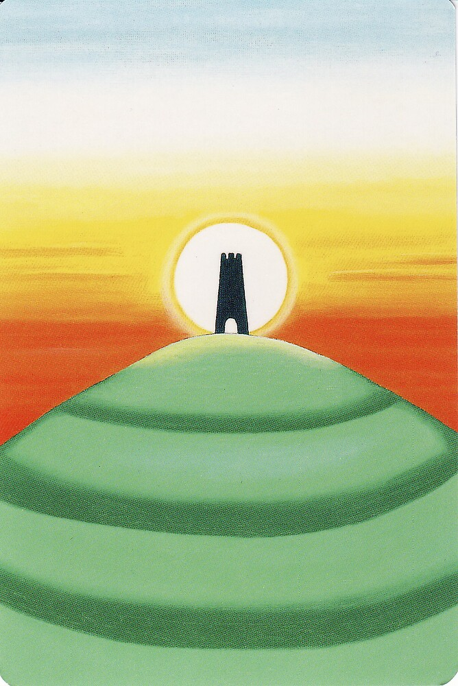 Backing image for the tarot cards - Glastonbury Tor by Lisa Tenzin-Dolma