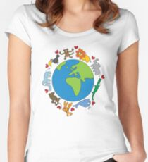 We Love Our Planet | Animals Around The World Women's Fitted Scoop T-Shirt