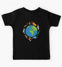 We Love Our Planet | Animals Around The World Kids Tee