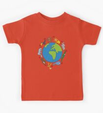 We Love Our Planet | Animals Around The World Kids Tee