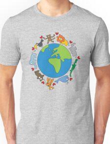 We Love Our Planet   Animals Around The World Unisex T-Shirt