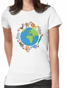 We Love Our Planet | Animals Around The World Womens Fitted T-Shirt