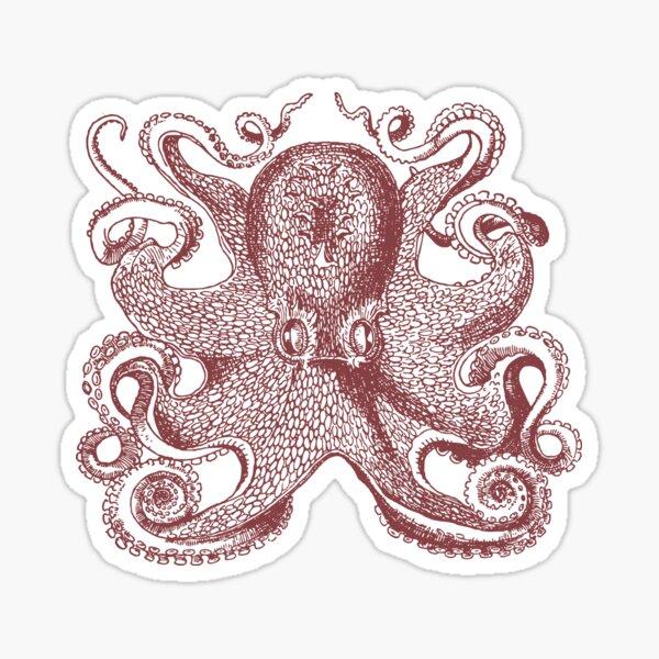 Vintage Octopus Illustration Sticker