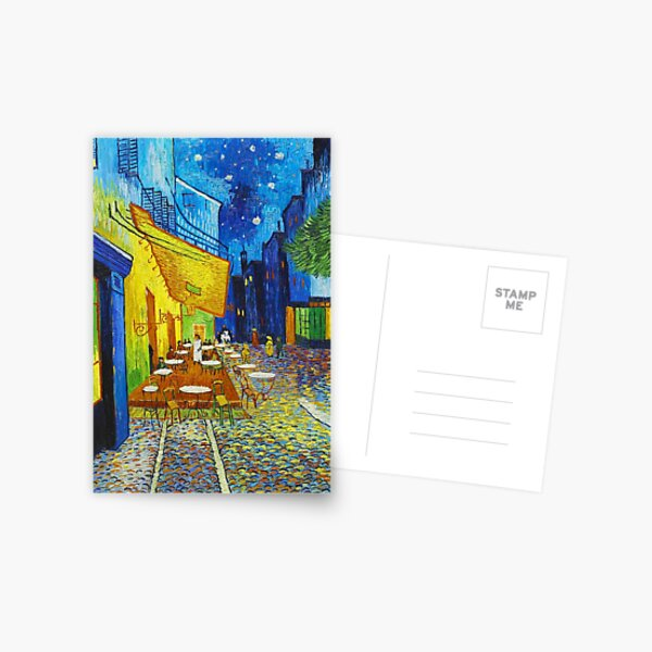 Van Gogh Café Terrace Night Famous Paintings Impressionist Postcard