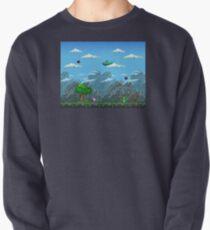 Pixel Airplane Sky Scene Pullover