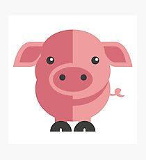 Funny pink cartoon pig Photographic Print