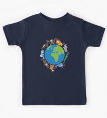 We Love Our Planet   Animals Around The World II Kids Tee