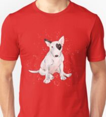 English bull Terrier with a heart shaped patch Unisex T-Shirt