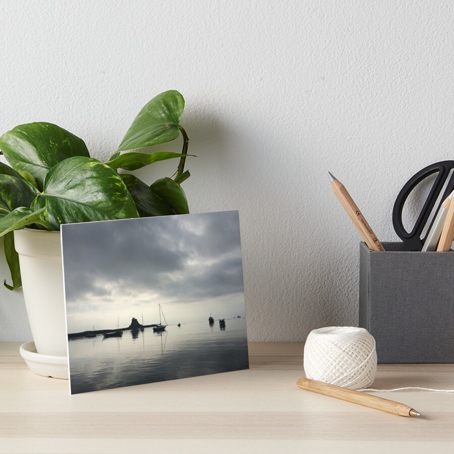 Holy Island Harbour and Castle Art Board Print