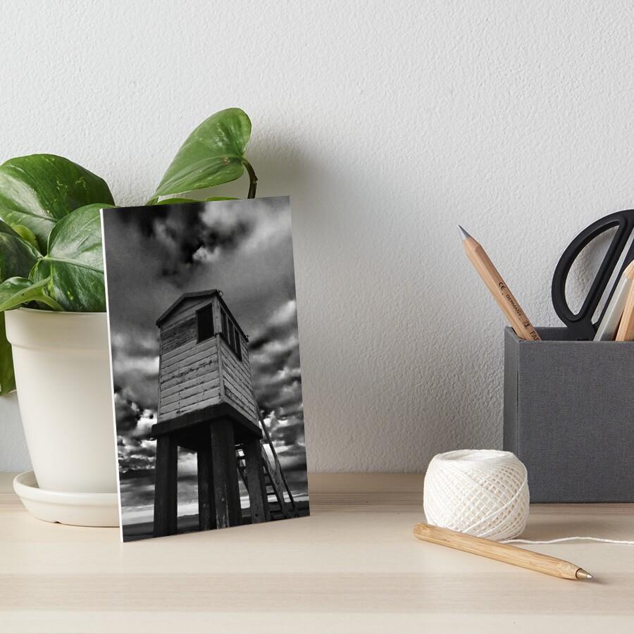 A rescue box - Holy Island Causeway Art Board Print