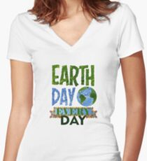 National Earth Day  Women's Fitted V-Neck T-Shirt