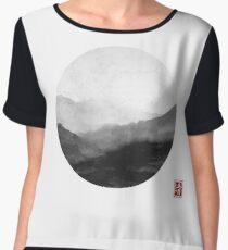 Abstract Japanese Landscape with Mountains and Calligraphy Chiffon Top