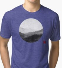 Abstract Japanese Landscape with Mountains and Calligraphy Tri-blend T-Shirt