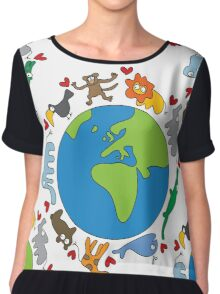 We Love Our Planet | Animals Around The World Chiffon Top