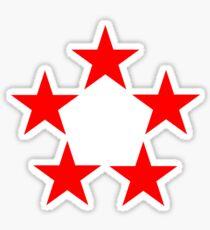 Red Star, FIVE STAR, RED, Stardom, Power to the people! Red Dwarf, Stellar, Cosmic. BLACK Sticker