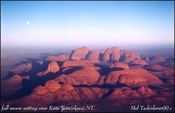 full moon setting over kata tjuta (the olgas)  by melanie tschiderer
