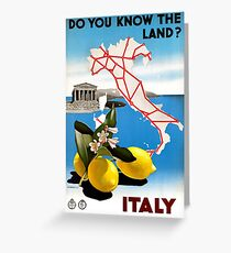 Restored Italy Vintage Travel Poster Greeting Card