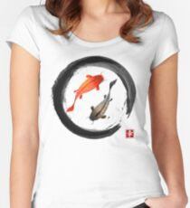 Japanese Koi Vintage Ink Shodo Women's Fitted Scoop T-Shirt