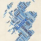 Scotland Typography Text Map by Michael Tompsett