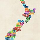New Zealand Typography Text Map by Michael Tompsett