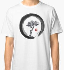 Japanese Pine Tree in Enso Zen Circle - Vintage Japanese Ink Classic T-Shirt