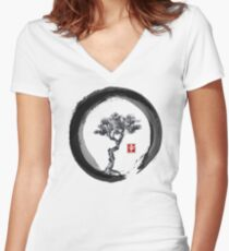 Japanese Pine Tree in Enso Zen Circle - Vintage Japanese Ink Women's Fitted V-Neck T-Shirt