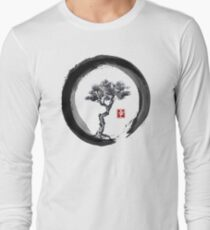 Japanese Pine Tree in Enso Zen Circle - Vintage Japanese Ink Long Sleeve T-Shirt