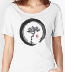 Japanese Pine Tree in Enso Zen Circle - Vintage Japanese Ink Women's Relaxed Fit T-Shirt