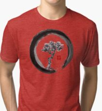 Japanese Pine Tree in Enso Zen Circle - Vintage Japanese Ink Tri-blend T-Shirt