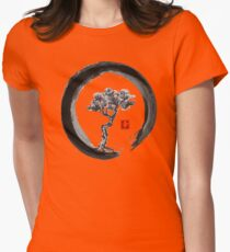 Japanese Pine Tree in Enso Zen Circle - Vintage Japanese Ink Womens Fitted T-Shirt